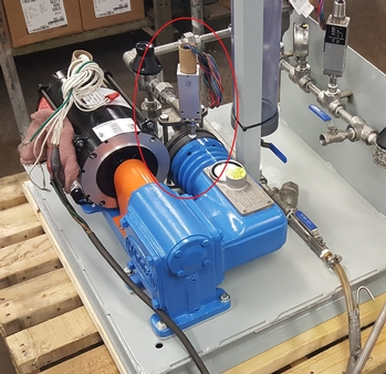 Madden Pump chemical diaphragm metering pump with leak detecting feature